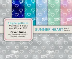 Summer hearts pattern set - RavenJuice - siker